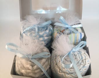 SALE Baby Boy Shower Gift | Gender Reveal Ideas | Pregnancy Announcement Ideas | New Parent Gift Set | Baby Cupcakes Gifts | New Mom Gift