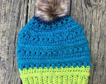 Beanie in Teal & Green with Faux Fur Pom // Juneberry Beanie // Ready to Ship