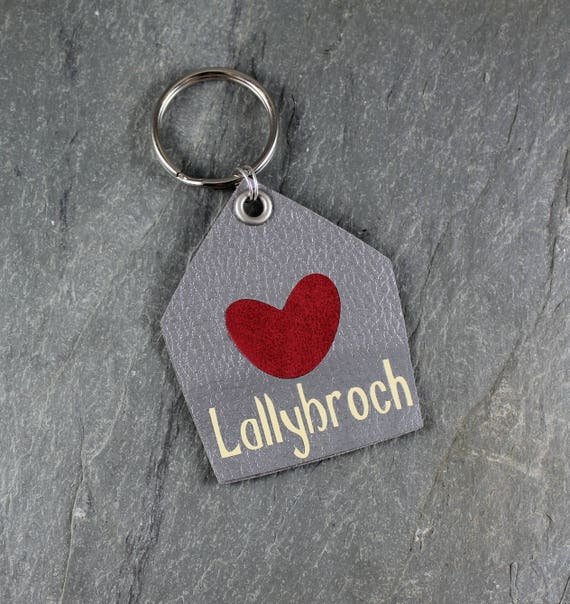 Lallybroch ~ Faux Leather and Suede Keychain ~ Outlander Inspired