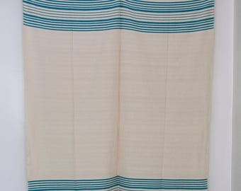 """Moroccan Hand Made Blanket Throw - Turquoise Stripes on Creamy White - 6'10"""" x 5'7"""""""