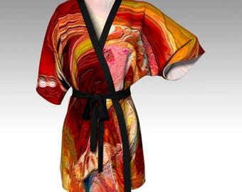 "Elegant Designer-Style KIMONO ROBE - TOP ~ ""Luminescence (#2)"" / Exclusive Design / Classy, Stylish, Unique Apparel"