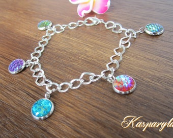 Silvery bracelet with tiny colored lockets - 20 cm