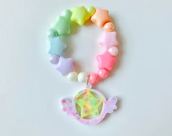 Star With Wings Pastel Kawaii Kandi Singular Bracelet
