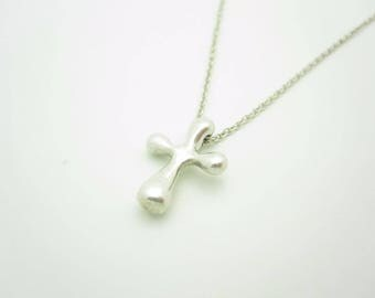 Tiffany & Co. Sterling Silver Elsa Peretti Cross Pendant Necklace 16 1/2""