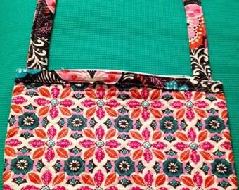 quilted handbag, quilted shoulder bag, women's handbags, multicolor handbags, floral handbag, pink handbags, orange handbags, gray handbags