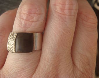 Wide Sterling Silver Ring, Silver and Wood Ring, Artisan Ring, Silver Ring, Silver Band
