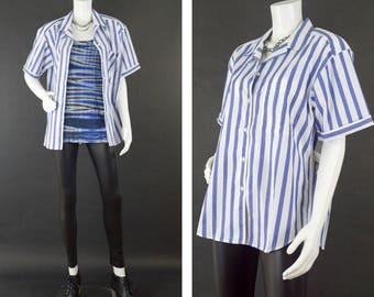 Vintage Short Sleeve Shirt, Blue Pinstripe Pajama Style Top, 80s Style Shirt, Casual Button Up Blouse, Oversized Shirt, Women's Size Large,