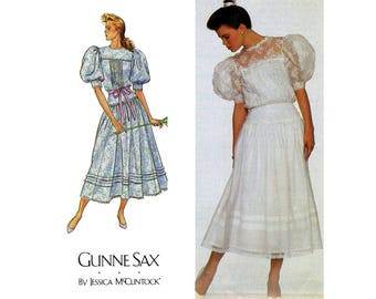 "Women's Gunne Sax Dress Sewing Pattern by Jessica McClintock Misses' Size 14 Bust 36"" Vintage 1980's Simplicity 8610"