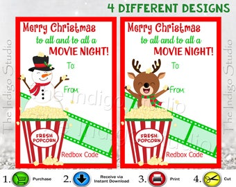 4 Different Designs Redbox Codes gift Tags Cards Digital Printable Merry Christmas to all and to all a Movie Night REDBOX Code Movie Gifts