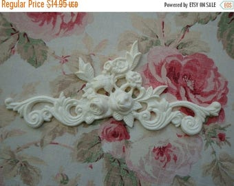 On Sale10% Shabby and Chic Rose Floral & Scroll Furniture Applique Architectural Pediment