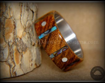 "Bentwood Ring - ""Frets"" Zebrawood on Titanium with Guitar Fret Inlay using Paua Shell and Mother of Pearl Inlay"