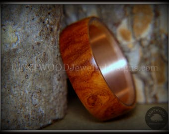 "Bentwood Ring - ""Rarity"" Amboyna Burl Wood Ring with Copper Comfort Fit Metal Core"
