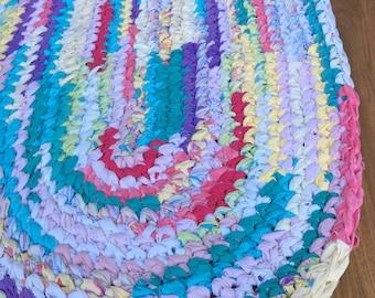 "40""x28"" Oval Rag Rug, Rainbow Rug, Hand Crocheted, Kids' Rug, Girl's Bedroom Rug, Nursery Rug, Braided Rug, Multi-Color Rug"