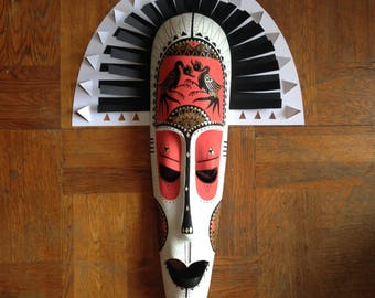 African mask / / graphic / / renovated / / handmade