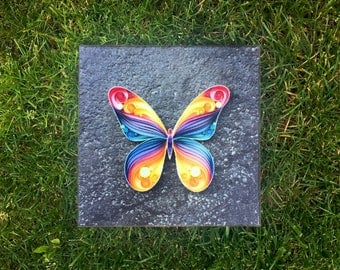 """SALE!! Quilled Paper Art Print On Canvas: """"Butterfly"""""""