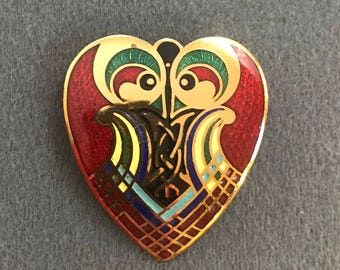 Colorful Enameled Heart and Bird Brooch by Tara Ware-Ireland. Free shipping.