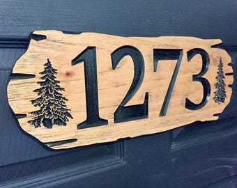 Wooden address sign, Outdoor address plaque, Hanging Sign, Pine Trees, House numbers,Weekend Camping Sign, New cabin sign, outside signs