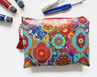 Waterproof pouch, Colourful Indian print, waterproof wallet, zipper pouch ,Ladies Wallet clutch Purse