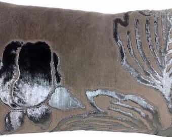 Velvet Cushion Cover Brown Pillow Throw Case Fabric Flaminia Taupe Osborne & Little Rectangle