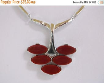 SALE Vintage SARAH COVENTRY Art Deco Maroon Red Oval Thermoset Silver Tone Mod Necklace Autumn Fall Jewelry Gift