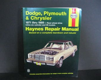 Vintage Dodge, Plymouth & Chrysler Haynes Repair Manual,  Haynes Repair Manual 1971 thru 1989 Models