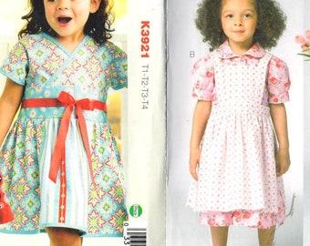 "LOT of 2 Kwik Sew 3962/3921 Toddler Girls Flared Dresses & Pinafore, Sz T1-T4/Chest 20-23"", UNCUT Kwik Sew kids sewing patterns"