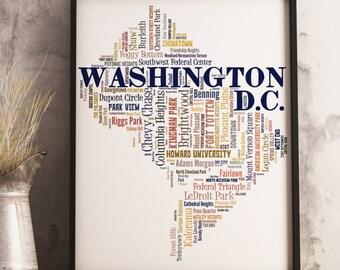 Washington DC Map Art, Washington DC Art Print, Washington DC Neighborhood Map, Washington dc Typography Art, Washington dc Poster Print