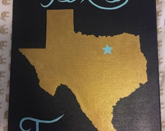 Hand Painted Texas Canvas