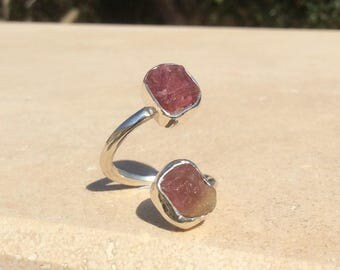 Raw Tourmaline Two Stone Silver Ring, Dual Gemstone Ring, Double Stone Ring, Unique Double Stone Ring, Tourmaline Ring