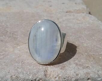 US 9, Rainbow Moonstone Ring, Large Gemstone Ring, Moonstone Silver Statement Ring, Large Stone Ring, Silver Cocktail Ring