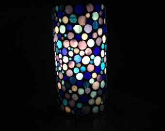 To order.  Cylindrical glass in shades of blue mosaic lamp. Bubbles, colorful bubbles. She