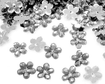 50 Silver clear Crystal flowers