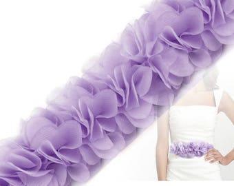 Organza Ribbon gathered 6 purple 14 cm