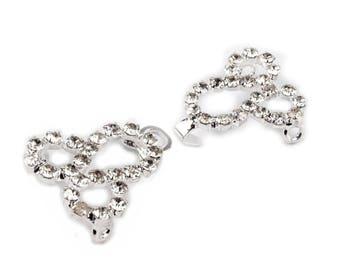 Crystal silver hook clasp closure