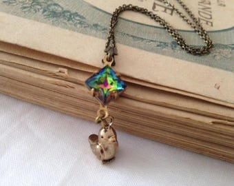 Bronze bird necklace 3D antique gold square rhinestone vintage vitrail medium vintage glass