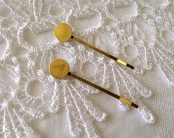 2pcs clips Bobby pins antique gold 10mm tray to paste cabochon