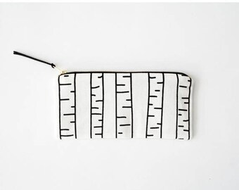 20% OFF SUMMER SALE/ Birch Tree/ hand screen printed pencil case with graphic birch tree print, black and white stationary, hipster pencil p