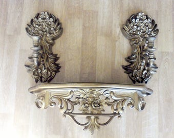 Hollywood Regency,Shelf, Sconce, Elegant Regal, candle holder, wall hanging, Dart, made in the USA