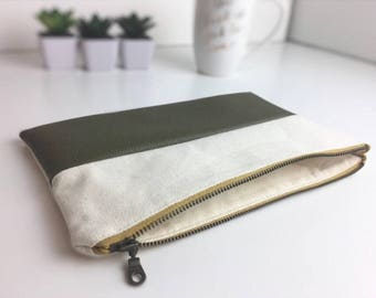 Olive Fall pouch, faux leather bag, canvas bag, simple bags, minimalist pouch, clutch, bridesmaid gift, everyday bag, modern zipper pouch
