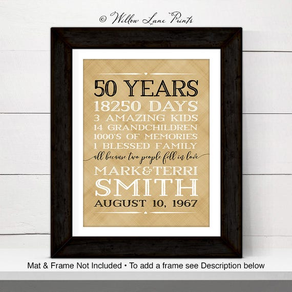 Gift Ideas For 50th Wedding Anniversary For Parents: 50th Anniversary Gift For Parents Anniversary Gift 50 Year
