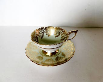 Royal Stafford 8410G gold on green cup and saucer VGU