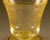 "Florentine #2 Poppy Yellow Depression Glass Footed Juice Tumbler 5 Ounce Oz Topaz 3 1/4"" Number 2 Vintage 1930s Authentic Hazel Atlas"