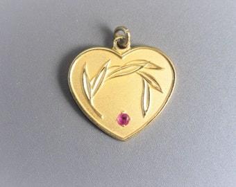 Vintage Avon 10K Ruby Heart Sponsorships Award Charm Pendant