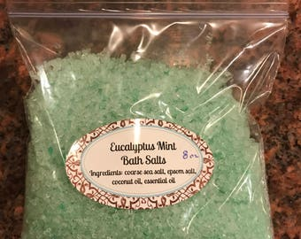 Eucalyptus mint bath salts, bath soak 8 oz