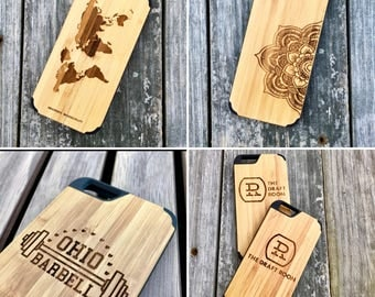 Custom Laser Engraved iPhone 8 Wood Case (Real Wood)