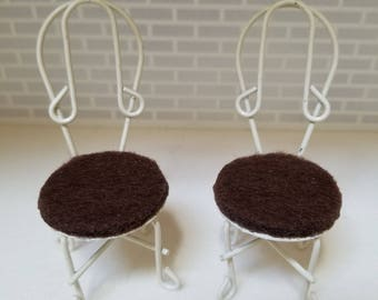 Dollhouse Miniature Patio or Kitchen Chairs, 1:12 scale