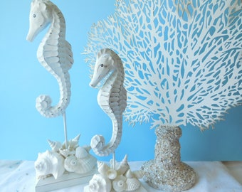Spectacular SeaHorse Statue  Coastal Home Decor Seahorse Sculpture Seashell  Art Shabby Chic
