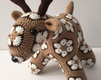 Small African Flower Crochet Deer Stuffed Animal