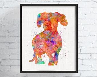 Dachshund Watercolor Print, Dachshund Art, Dachshund Print, Dachshund Wall Decor, Dachshund Wall Art, Dachshund Gifts, Dog Art Print, Framed