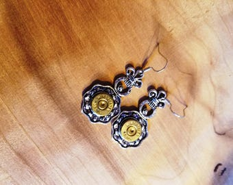 Ornate Drop Earrings made from spent 38 special rounds!